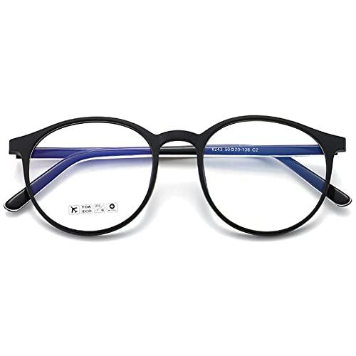 KOOSUFA Gafas con filtro de luz azul, retro, redondas, TR90, montura de gafas, antiluz azul, sin visión, unisex, para ordenador, para juegos, antifatiga, con funda