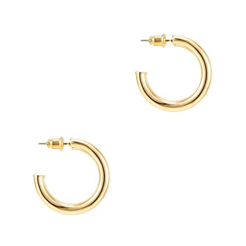 PAVOI 14K Yellow Gold Hoop Earrings For Women | 3.5mm Thick 30mm Infinity Gold Hoops Women Earrings...
