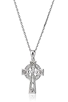 Celtic Cross Jewelry for Women Made in Ireland Sterling Silver Celtic Cross Necklace Small 7/8  Cross Pendant with 18  Chain Crafted in Co Dublin Ireland