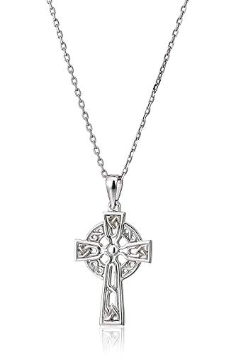 "Celtic Cross Jewelry for Women Made in Ireland Sterling Silver Celtic Cross Necklace Small Cross Pendant with 18"" Chain Crafted in Co. Dublin, Ireland"