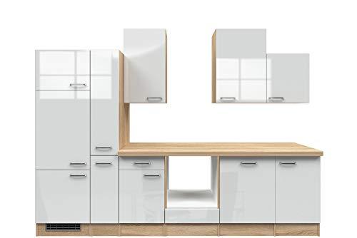 Smart Möbel Küchenzeile 310 cm Hochglanz Weiß/Sonoma Eiche ohne Geräte mit Apothekerschrank - Valencia