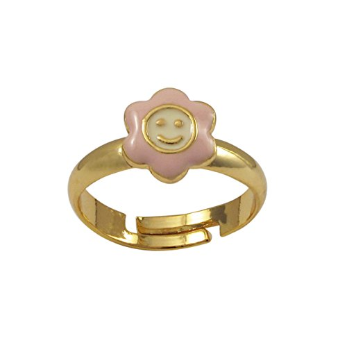 Ivy and Max Gold Finish Light Pink and White Enamel Small Smiley Face Flower Ring, 5-6