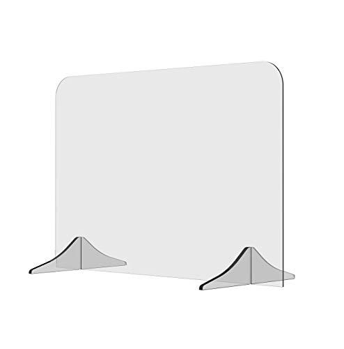 Solarplexius Trennwand Hustenschutz Niesschutz Virenschutz für Schreibtisch und Büro Thekenaufsatz Tischaufsatz Tresenaufsatz Antibakteriell Transparent Acrylglas(90 x 60 cm)