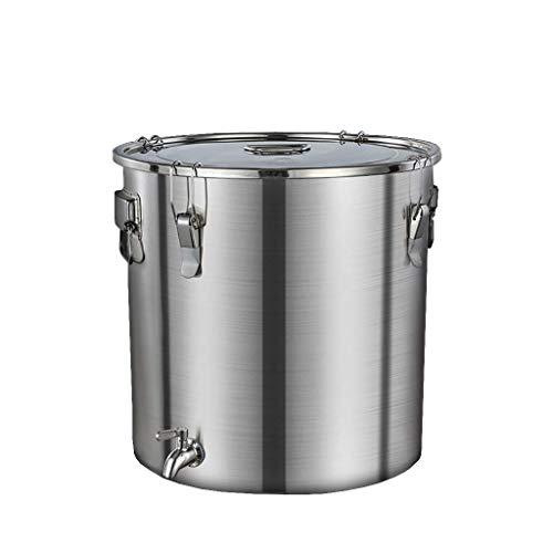 Seau d'eau Marmite de, 304 grande capacité en acier inoxydable scellé Seau, peut contenir du vin, huile, lait, liquide Transport (Couleur: Argent, Taille: 48.5cm * 46.5cm (75L)) HLSJ