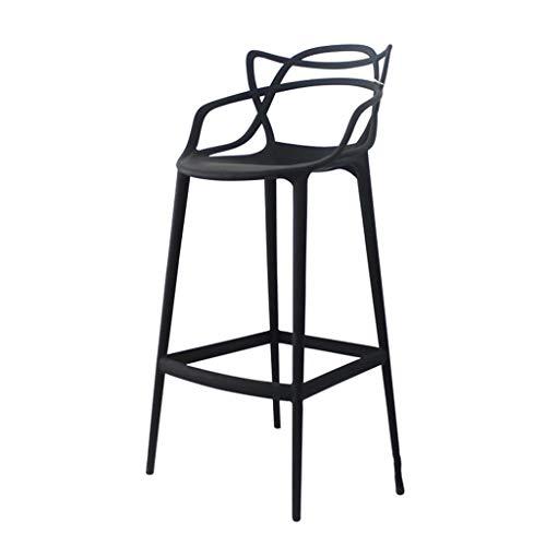 Tuqia Barkruk, kunststof kruk, kruk, balkon, terras met pedaal, leuning, barstoel, antislip, hoogte 75 cm, Living Furniture stoelen Zwart