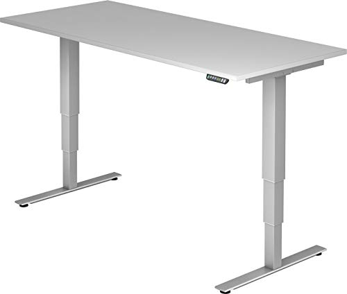 bümö® ergonomischer Schreibtisch elektrisch höhenverstellbar | elektrischer Bürotisch | höhenverstellbarer Büroschreibtisch mit Memoryfunktion in Rechteck: 180x80 cm Grau