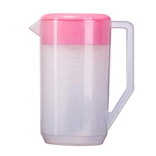 YARNOW Boccale per frigorifero, con scala graduata, in plastica, con coperchio, caraffa per acqua, per frigorifero, tè freddo, bevande, tè, latte, cocktail
