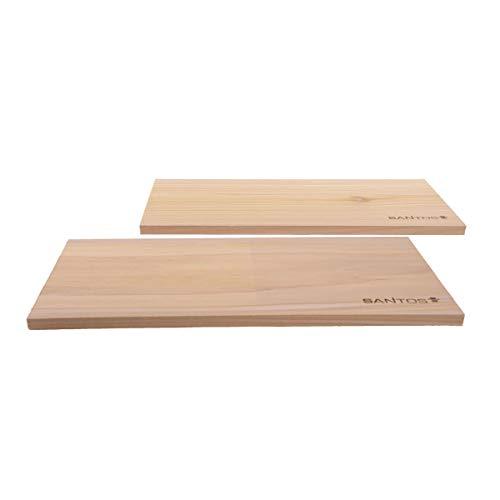 Premium Räucherbretter XXL 2 Stück aus Zedernholz - 40cm x 15 cm x 1,1 cm - Mehrfache Verwendbarkeit - Western Red Cedar Räucherbrett Räucherplanken