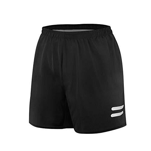 WHCREAT Shorts Deportivos para Hombre, Shorts Casuales de Gimnasio de Entrenamiento de Secado Rápido con Bolsillo con Cremallera, Negro M