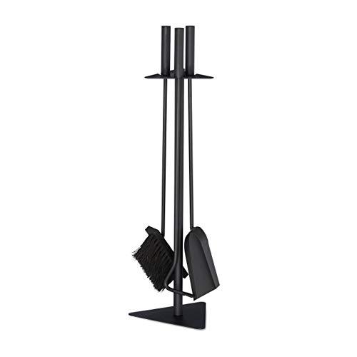 Relaxdays Schoorsteenbestek, 4-delige kachel met schep, bezem, pookhaak & houder, ovenbestek modern, zwart, 60 x 18,5 x 16,5 cm