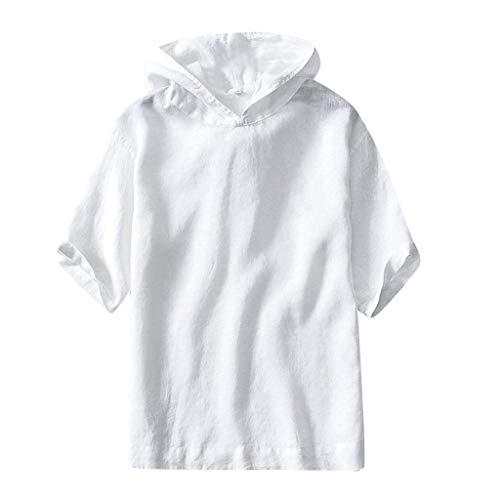 REALIKE Herren Unifarben Hoodie Kurzarmshirt Mode Loose Kurzer T-Shirt Freizeit Bequem Atmungsaktiv Baumwolle und Leinen Tops Männer Viele Farben Mehrere Größen Blusen Oberteile
