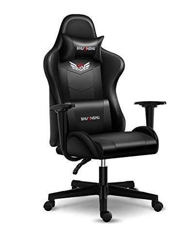 Shuanghu Gaming Chair Office Chair Ergonomic PC Computer Chair with Reclining Racing Chair with Headrest and Lumbar Support Gaming Chair for Adults Teens Desk Chair (Black)