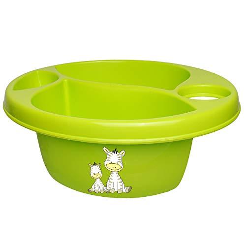 Waschschüssel / Kinderwaschbecken - grün - apfelgrün _ Tiere - Zebra _ Bieco - 3 Kammern - Baby - Putzeimer - Windeln Wickelschüssel - Windel Babywindel - für..