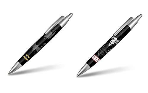 Set mit Kugelschreiber Batman und Spiderman mit Federmäppchen – Stifte Schule Dosen Schreibwaren Superheroes – DC Comics + Marvel – ideal als Geschenk