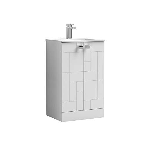 Nuie BLO103B Badezimmer-Waschkommode mit 2 sanft schließenden Türen, minimalistisches, schlankes Design, 18 mm Profil, Keramik-Waschbecken, 500 mm, Satinweiß
