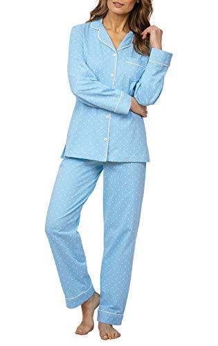 PajamaGram Womens Pajama Sets Cotton - Soft Jersey Pajamas Women, Blue, L, 12-14