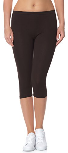 Ladeheid Leggings Donna 3/4 LAMA01 (Marrone28, XS/S)