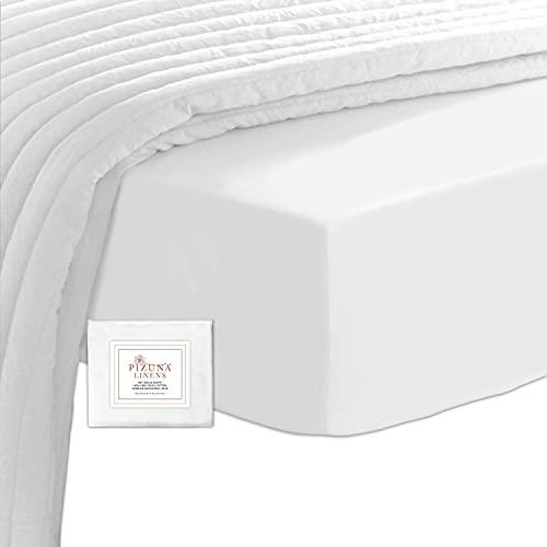 Pizuna 400 Fils Drap Plat en Coton pour 2 Personnes Blanc, 100% Coton À Longues Fibres Tissu Satin Doux Drap Grand Format 240x280 (Drap Plat 100% Coton Blanc)