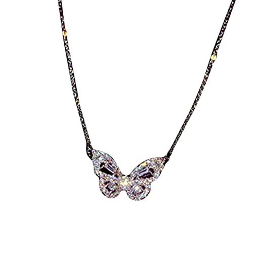 FENGGUO Collar de mariposa, collar de cadena colgante de mariposa de diamantes de imitación para mujeres Grils