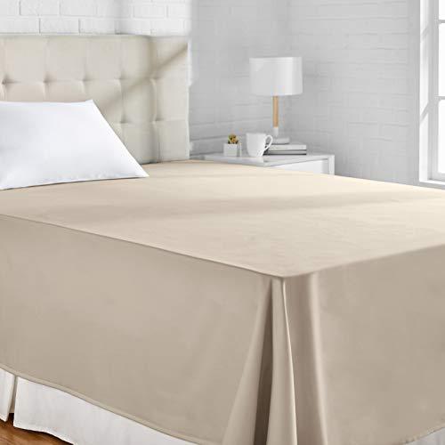 Amazon Basics - Lenzuolo piano, in rasatello di cotone, 400 fili, anti-piega, 230 x 260 + 10 cm - Grigio