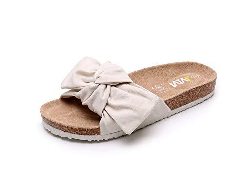 WTW Women Summer Beige Bow Cork Sandals Platform Footbed for Ladies (Size8)