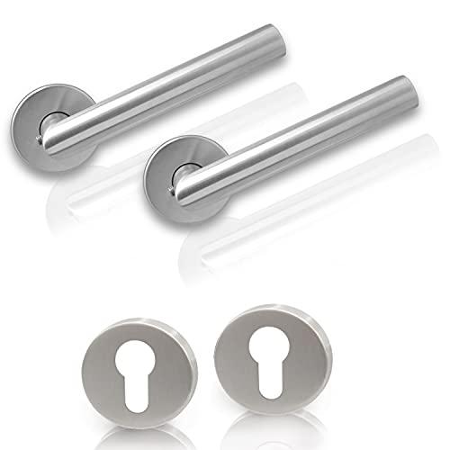 Laggo® Maniglie per porta in acciaio inox – 2 pezzi per una porta – con barba colorata o WC – in acciaio inox spazzolato di alta qualità SUS 304