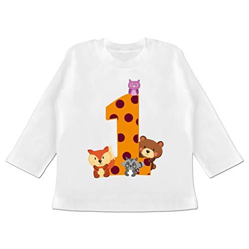 Geburtstag Baby - 1. Geburtstag Waldtiere - 12/18 Monate - Weiß - Geschenk - BZ11 - Baby T-Shirt Langarm