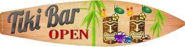 Bargain World Tiki Bar Open Surfbrett-Schild, Metall, mit Haftnotizen