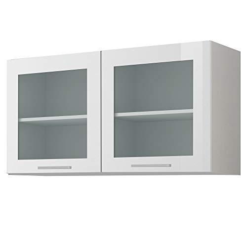 LIVATHA Glas-Hängeschrank Küche MÜNCHEN - Oberschrank - 2-türig - Breite 100 cm - Hochglanz Weiß