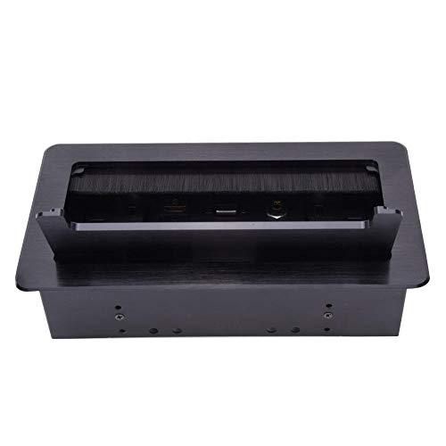 Tischsteckdosenleiste aus Aluminiumlegierung, verdeckte Tischsteckdose Steckdose USB VGA HDM-Netzwerkkabelanschluss Sicherer Netzstecker UK-Standard für das Heimbüro