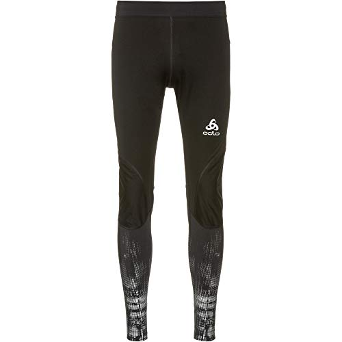 Odlo Zeroweight Warm Leggings, Black - Reflective Graphic, XXL Hombre