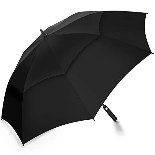 Paraguas de golf resistente al viento tamaño grande 62 cm, doble toldo con ventilación, apertura automática, Gran Tamaño Extra grande