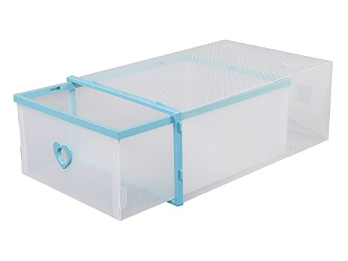 Smilun Closet Storage Organizer Transparent Plastic Stackable Shoe Box Case Home Storage Container Office Organiser Multicolour Heart6PCs