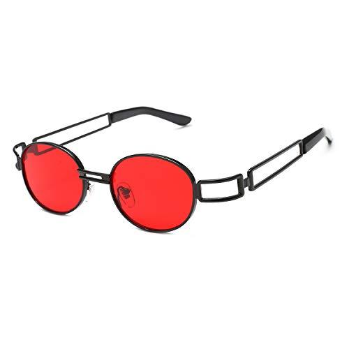 Gesh Gafas de sol para hombre y mujer, diseño de marca, lentes de espejo, gafas de sol, retro, vintage, ovaladas, de calidad de lujo, Uv400 (negro + rojo)