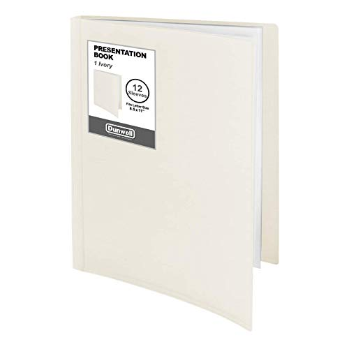 "Dunwell 12-Pocket Portfolio Presentation Binder - (Ivory, 1 Pack), Bound Presentation Book with Plastic Sleeves, Displays 24 Pages 8.5x11"" Sheets, Binder with Pockets, Sheet Protector Binder"