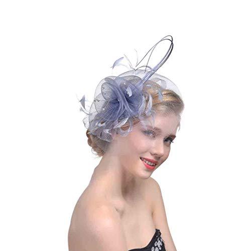 LYQZ Anglais Tea Party Fascinator Hat Accessoires de Cheveux de mariée Fil Maille Pince à Cheveux Coiffe Chapeau de Course de Chevaux (Couleur : Gris Argent)