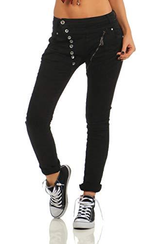 Fashion4Young 11424 Damen Jeans Röhrenjeans Hose Boyfriend Baggy Haremscut Damenjeans Slim-Fit (Schwarz-5857, XXL-44)