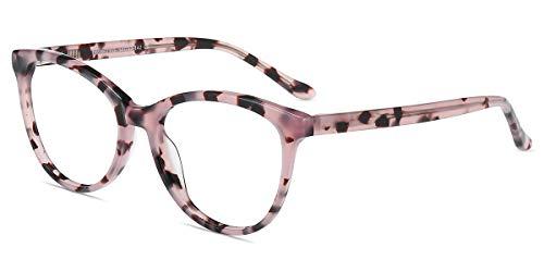 Firmoo Katzenaugen Brille Damen, Blaulichtfilter Computer Brille Katzenaugenförmige Vollrand Arbeitsplatzbrille ohne Sehstärke Anti 400UV und Augenmüdigkeit (Pink Muster)