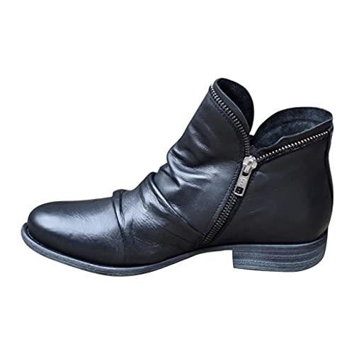 Damen Stiefeletten Chelsea Boots Damen Stiefel Plateau Hohe Schnürstiefel mit Stiletto Absatz Kniehohe Zweifarbig Security Tactical Einsatzstiefel Boot Damen Cowboy Stiefel Biker Boots Chunkyrayan