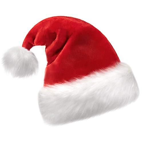 Christmas Hat, Santa Hat, Xmas Holiday Hat for Unisex Adults, Extra Thicken Classic Fur for Christmas New Year Festive Holiday Party Supplies
