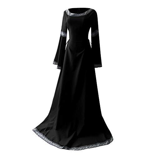 NHNKB Vestido de Halloween para mujer, disfraz de vampiro, largo hasta el suelo, maxivestido vintage, Queen Victoria, disfraz renacentista, talla grande, color negro, XXXXXL