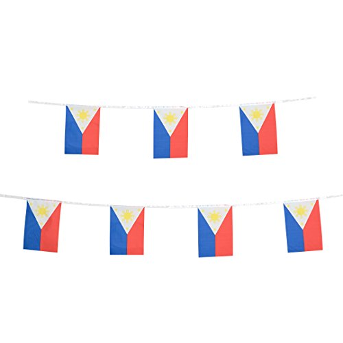 Philippines Flag,TSMD 100 Feet Filipino Flag 76Pcs National Country World Pennant Flags Banner,Party Decorations For Grand Opening,Olympics,School Sports Events,Bar,International Festival Celebration