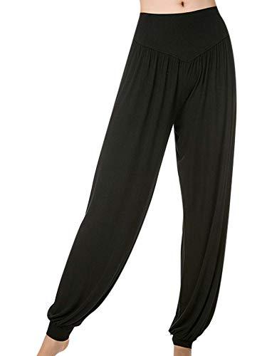 Abtel Lässige lose Yogahosen für Frauen Haremshosen Jogginghose Pilateshose Damen Elastische Hose mit hoher Taille Schwarz XL
