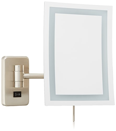 "Jerdon JRT710NLD Wall Mount Rectangular Direct Wire Makeup Mirror, Nickel Finish, 6.5"" x 9"""