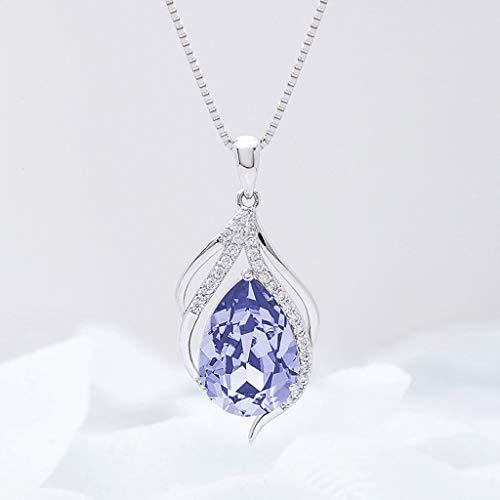 CKH Collar de Cristal 925 clavícula de Plata Simple Gota de Agua Colgante Corto de joyería Femenina Violeta