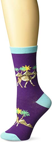 K. Bell Women's Playful Animals Novelty Casual Crew Socks, Camels (Purple), Shoe Size: 4-10
