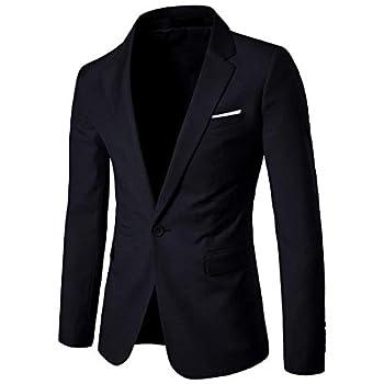 Cloudstyle Men s Suit Jacket One Button Slim Fit Sport Coat Business Daily Blazer,Black,Large