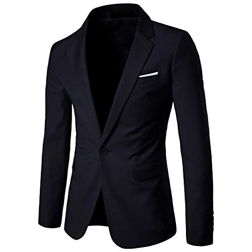 Cloudstyle Men's Suit Jacket One Button Slim Fit Sport Coat Business Daily Blazer,Black,Large