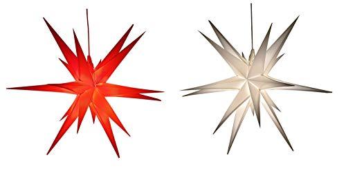 Led Weihnachtsstern Weiß, Adventsstern, für Außen, Kunststoff 55cm Mit led lamp 3W Stern 3D Außenstern Fensterstern Deko