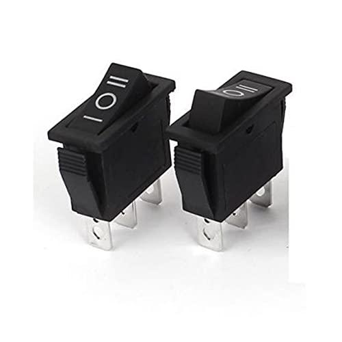 DONGMAISM Interruptor basculante 5 PCS Black 3PIN ON-On-On-On 3 Posición Rocker Switch 15A / 250V 20A / 125V SPDT